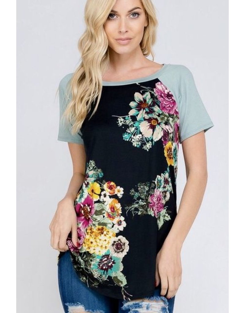 Black Floral with Sage Contrast Top
