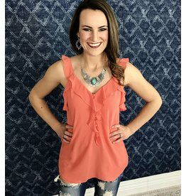 Coral Ruffled Button Down V-Neck Top