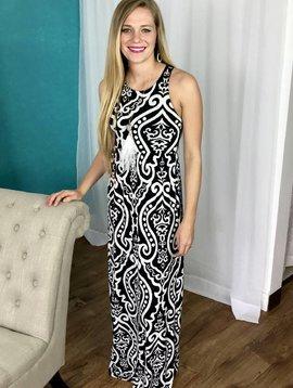 Black / White Damask Sleeveless Maxi Dress