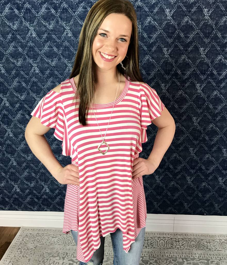 Lillie's Pink / White Striped Cold Shoulder Frill Top