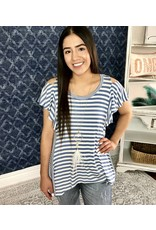 Lillie's Blue / White Striped Cold Shoulder Frill Top