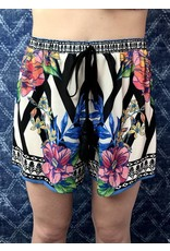 Ivory High Rise Floral Shorts