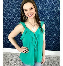 Teal Ruffled Button Down V-Neck Top