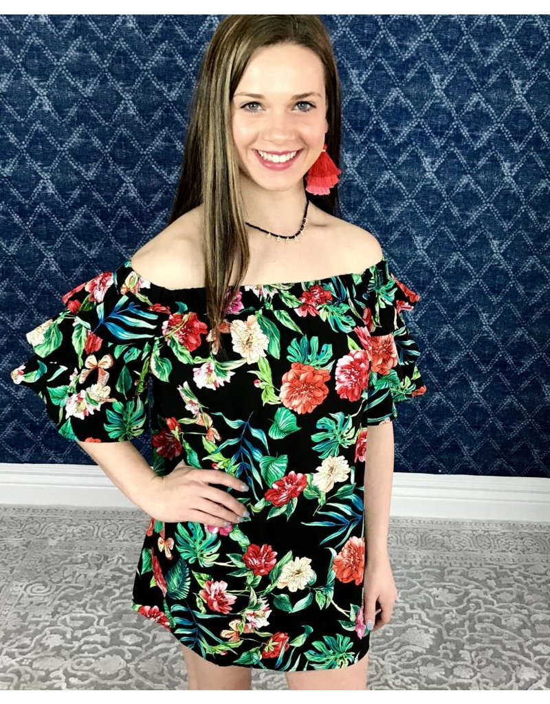 Black Floral Mix Off Shoulder Frill Sleeve Tunic- SALE ITEM