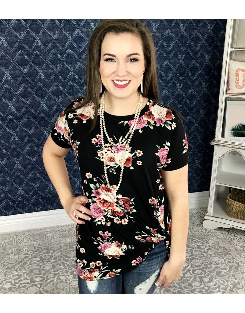 Black Floral Short Sleeve Knotted Top