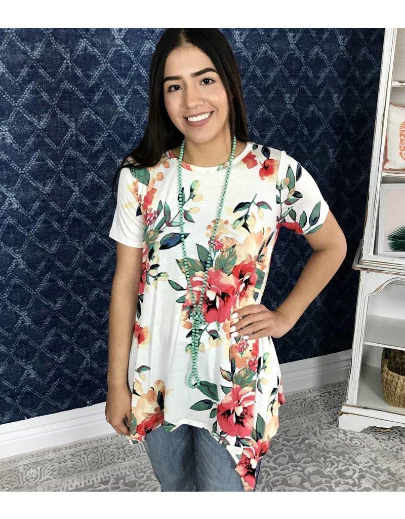 Ivory Short Sleeve Floral Asymmetrical Top