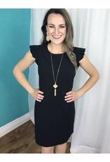 Black Shoulder Ruffle Sleeveless Dress