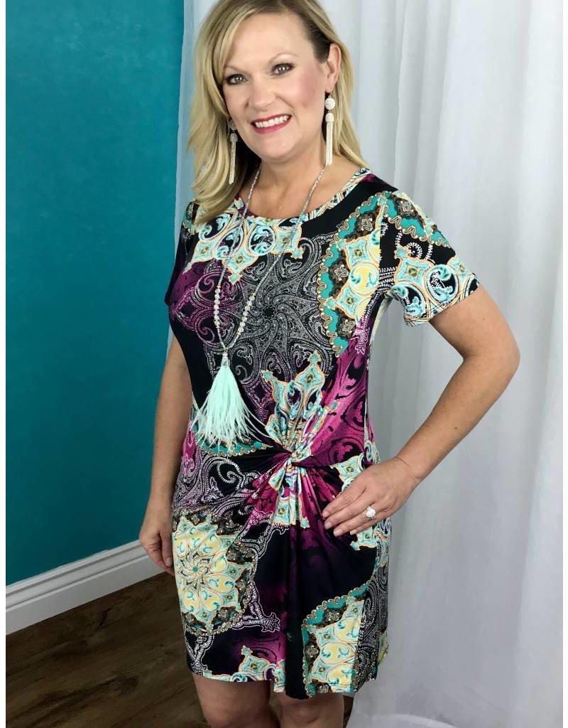 Black / Mulit - Colored / Pattern Front Twist Dress- SALE ITEM
