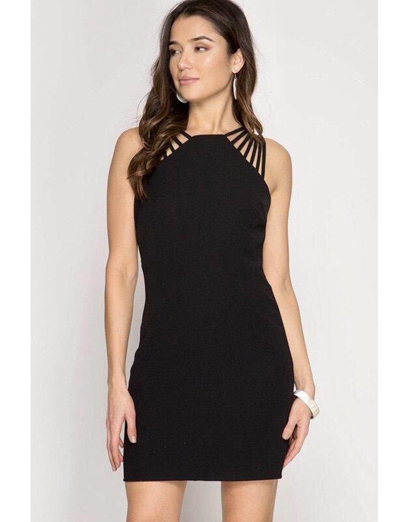 Black Sleeveless Multi-Strap Cami Dress