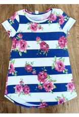 Lillie's Blue / White Striped Floral Simple Top- SALE ITEM