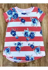 Lillie's Coral / White Striped Floral Simple Top