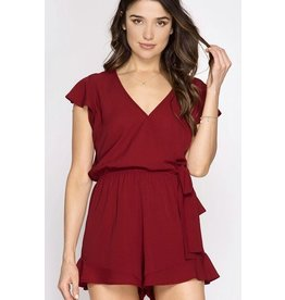 Burgundy V-Neck Knotted Romper- SALE ITEM