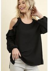 Black Cold Shoulder Ruffle Long Sleeve Top