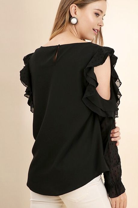 Black Cold Shoulder Frill Sheer Sleeve Top