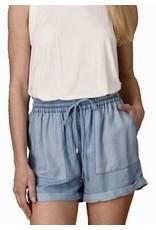 Light Faux Denim Short Shorts Contrast Pockets