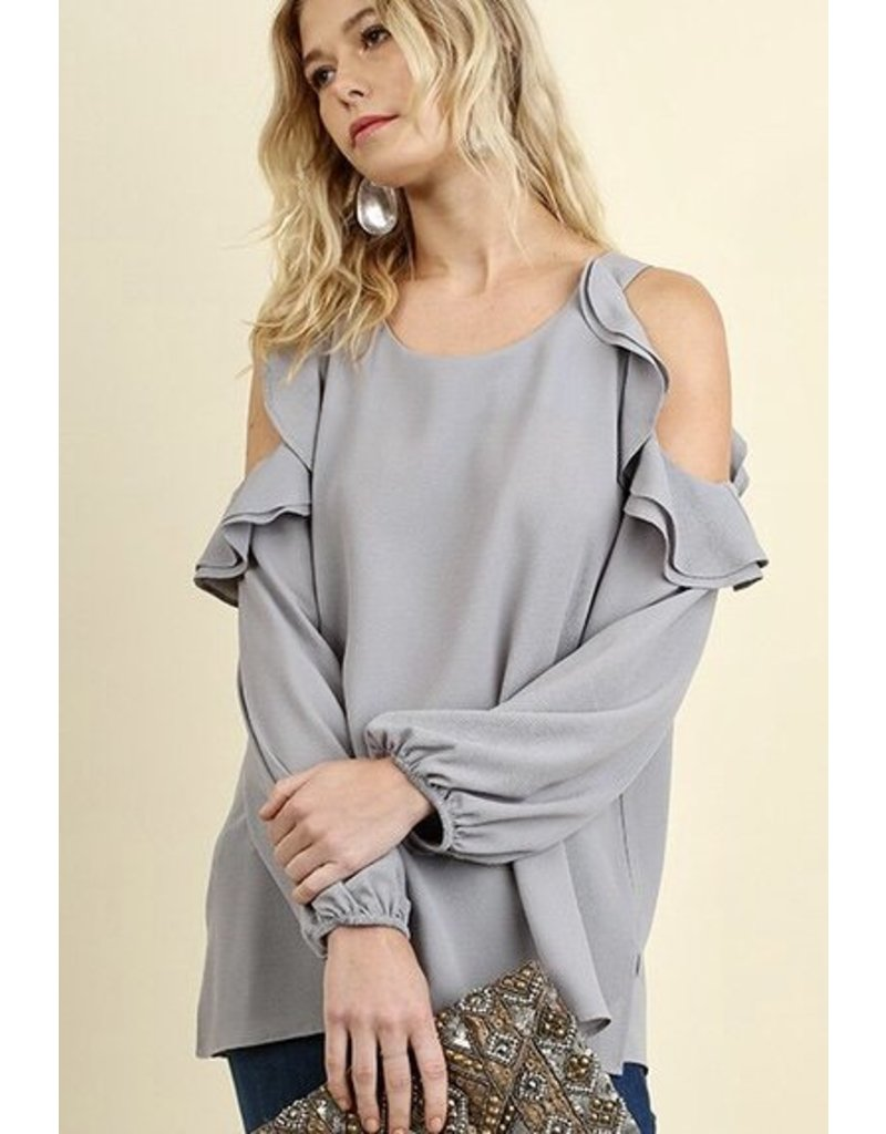 Light Grey Cold Shoulder Ruffle Long Sleeve Top