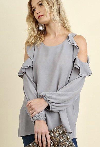 Light Grey Cold Shoulder Ruffle Long Sleeve Top