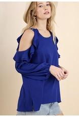 Cobalt Blue Cold Shoulder Ruffle Long Sleeve Top