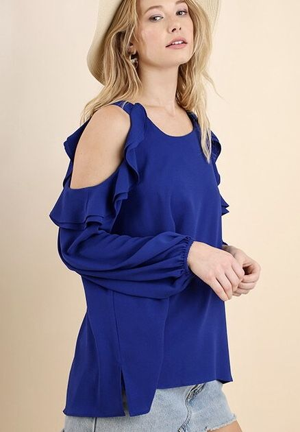 Cobalt Blue Cold Shoulder Ruffle Long Sleeve Top- SALE ITEM