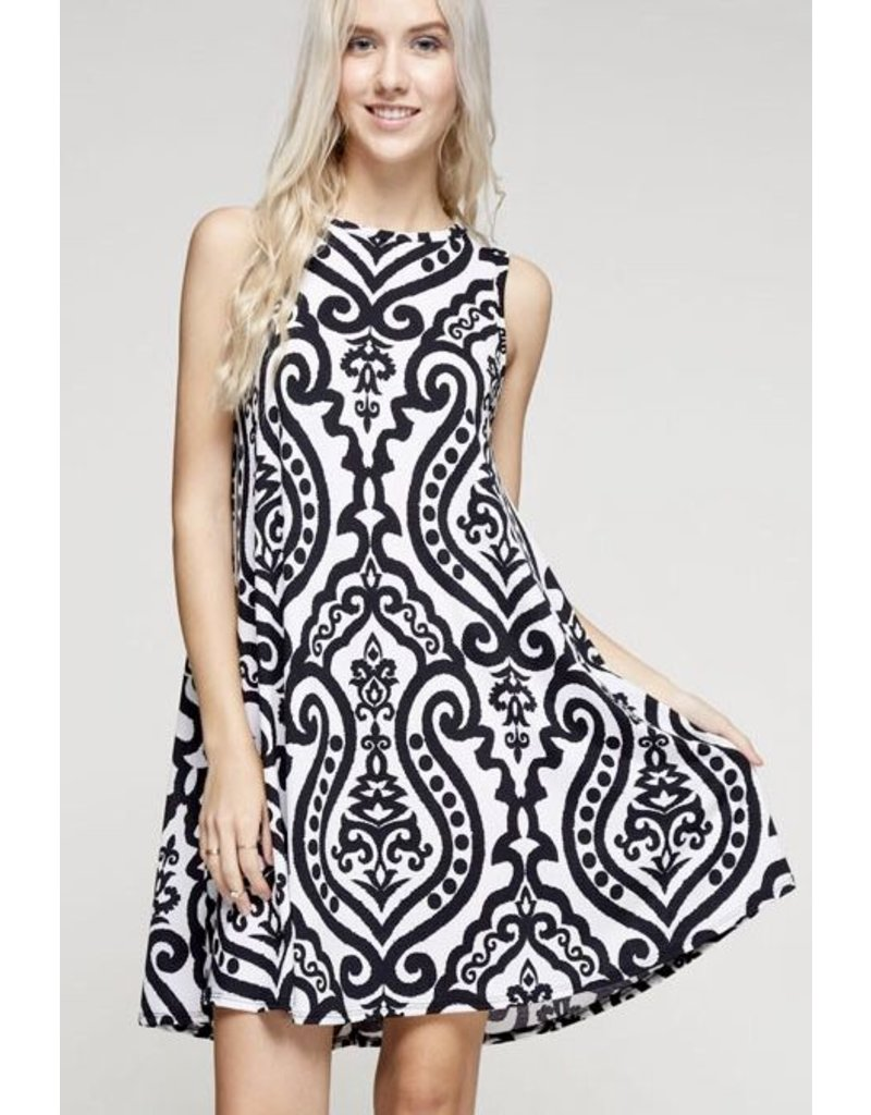 Black & White Paisley Sleeveless Dress