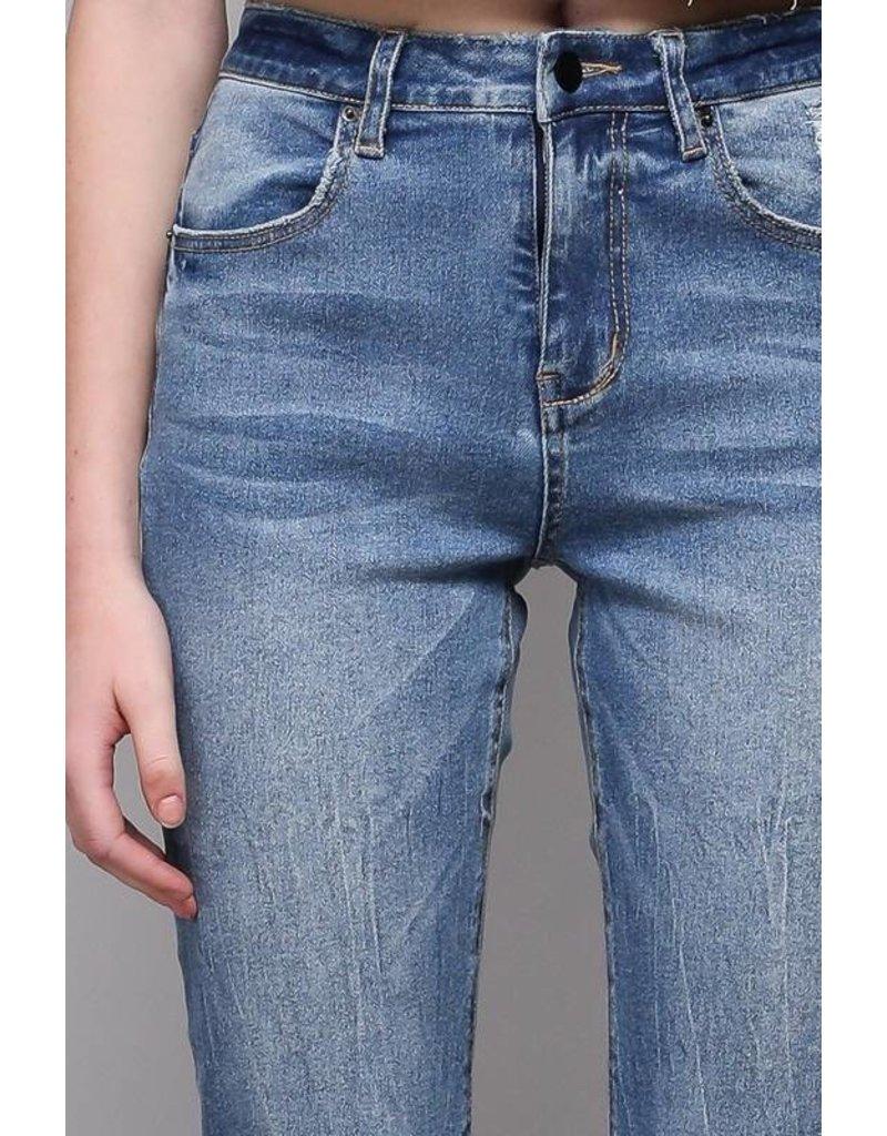 Denim Crop Top w Hem Wide Denim Pants