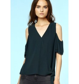 Black Light-Weight Deep-V Self Tie Cold Shoulder Top- SALE ITEM