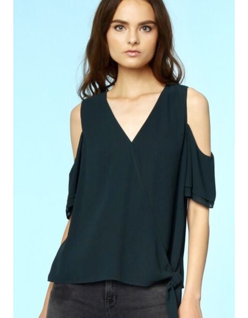 Black Light-Weight Deep-V Self Tie Cold Shoulder Top
