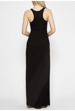 Black Solid Pinched Waist Long Knit Dress