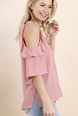 Dusty Rose Ruffle Cold Shoulder Top