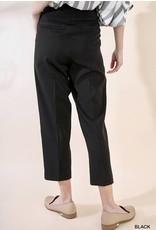 Black High Waist Plaited Trouser Pants