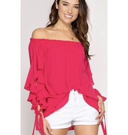 Pink Ruffled Arm Slit Off the Shoulder Top- SALE ITEM