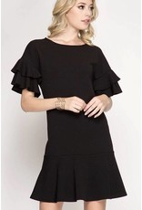 Black Textured Ruffle Sleeve Dress