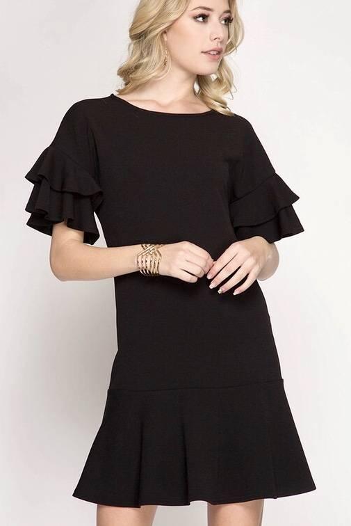 Black Textured Ruffle Sleeve Dress-SALE ITEM