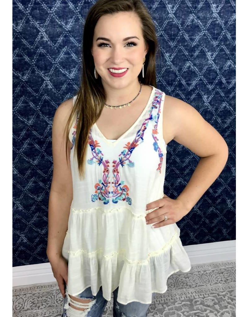 Cream / Multi - Colored Embroidery Sleeveless Top