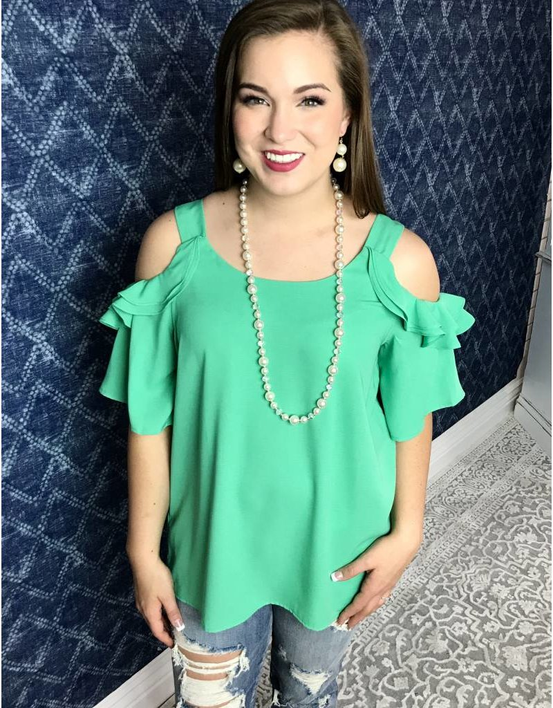Green Cold Shoulder Thick Strap Ruffled Sleeve Top-SALE ITEM