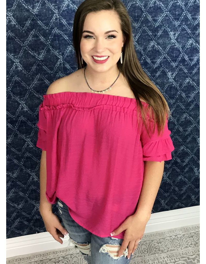 Bright Pink Off Shoulder Frill Sleeve Top