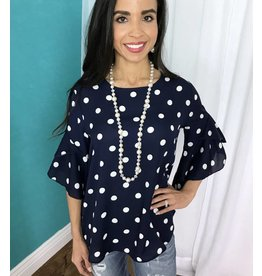 Navy / White Polka Dot Top Bell Sleeves- SALE ITEM