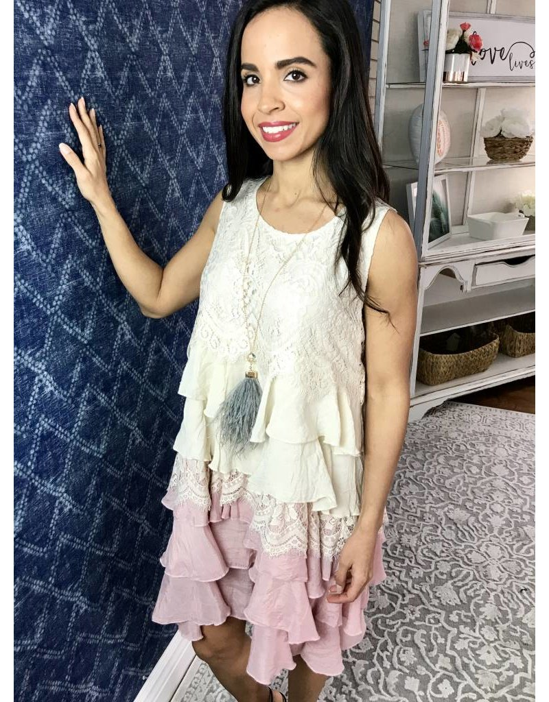 Beige / Baby Pink Lace Tiered Layer Ruffle Tunic