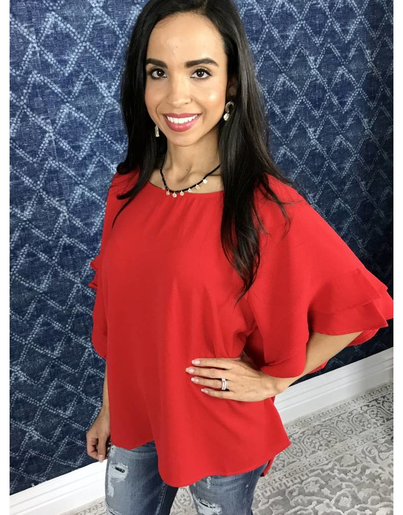 Cherry Red Ruffle Bell Sleeve Top
