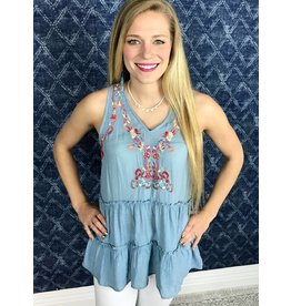 Sky Blue / Multi - Colored Embroidery Sleeveless Top