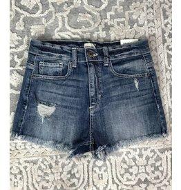 Denim Distress Fray Hem Short Shorts