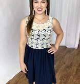 Ivory / Navy Lace Sleeveless Dress- SALE ITEM