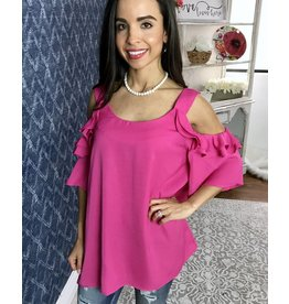 Pink Cold Shoulder Thick Strap Ruffled Sleeve Top- SALE ITEM