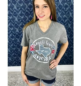 Grey Small Town America  V neck T-Shirt