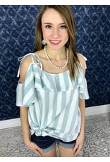 Faded Mint Striped Off Shoulder Ruffle Top