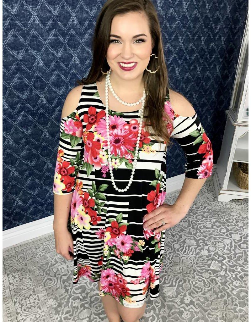 Black / White Striped Floral Mix Cold Shoulder Dress- SALE ITEM