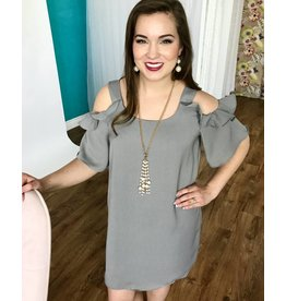 Lillie's Light Grey Textured Cold Shoulder Ruffle Sleeve Tunic