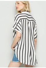 Lillie's Black / White Striped Button Up Collar Hi Low Top