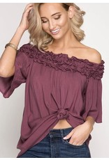 Deep Mauve Off Shoulder Ruffle Top- SALE ITEM