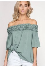 Faded Teal Off Shoulder Ruffle Top